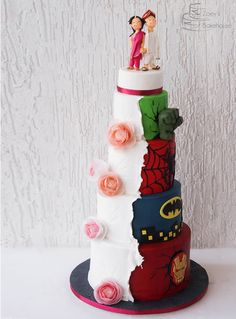 Avengers His and Hers Wedding Cake