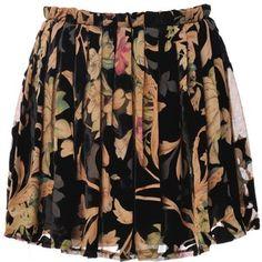 Velvet floral mini skirt.