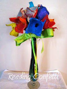 Egg carton flowers for Planting a Rainbow