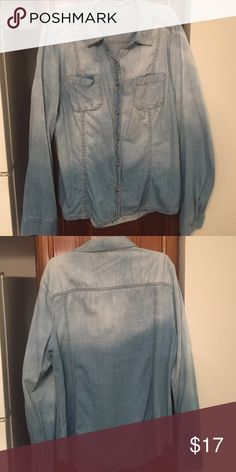 Denim faded shirt Long sleeve denim button up. Fades from dark Jean on the button to light Jean LC Lauren Conrad Tops Button Down Shirts