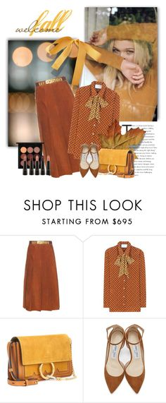 """""""Welcoming Fall"""" by jacque-reid ❤ liked on Polyvore featuring Gucci, Chloé, Jimmy Choo, MAC Cosmetics, jimmychoo, gucci and chloe"""