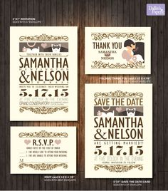 Wedding Invitation Printable, Customized Vintage style, RSVP, Thank you card, save the date, cotage chic, Bride and Groom by DallinsPaperie on Etsy