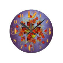 Small Purple Flurry or Autumn Leaves Wall Clock