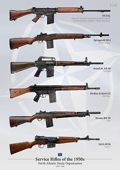 """The FN FAL is often regarded as the """"Right Arm of the Free World,"""" but NATO fielded a wide variety of battle rifles. Show them off with this comprehensive poster! Weapons Guns, Guns And Ammo, Tactical Rifles, Firearms, Military Drawings, Battle Rifle, Attack On Titan Art, Weapon Concept Art, Assault Rifle"""