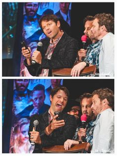 grumpyjackles: this is what happens when you break the Creation rule of asking Misha for a selfie on your phone. He took it from the girl and then proceeded to scroll through her camera roll with Louden Swain. I love the second shot ... Misha Collins LOL #Dallascon 2015 -Saturday Panel - Salute to Supernatural credits by @amyshaped or grumpyjackles