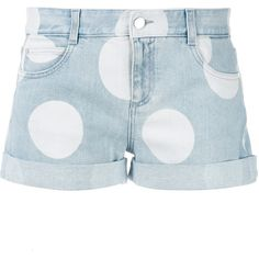 Stella McCartney Polka Dot Denim Shorts ($348) ❤ liked on Polyvore featuring shorts, bottoms, button fly shorts, dotted shorts, blue jean shorts, stella mccartney shorts and short jean shorts