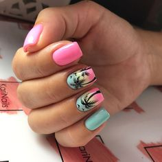 Manicure Cute nail designs for summer 2018 Consider Laser Hair Removal Article Body: Laser hair Summer Acrylic Nails, Best Acrylic Nails, Nail Summer, Cute Nails, Pretty Nails, My Nails, Palm Tree Nails, Cute Nail Designs, Tropical Nail Designs