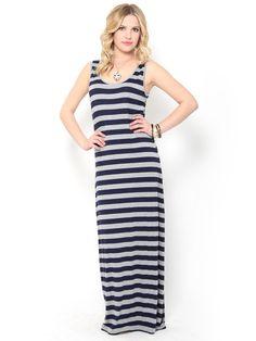 Striped Knit Maxi #Dress
