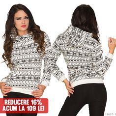 Bluza Winter White&Black >> Click pe poza pentru a intra pe site.o bluza calduroasa, cu gluga, care are un model modern ce te duce cu gandul la zilele de iarna. #VinereaNeagra #BlackFriday #Reduceri #fashion #BlackFridayFashion #ReduceriBlackFriday Black Friday, Turtle Neck, Modern, Sweaters, Fashion, Moda, Trendy Tree, Fashion Styles, Sweater