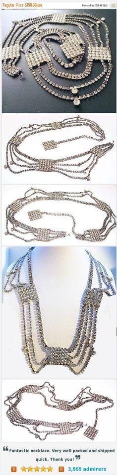 "Juliana Belt Necklace Clear Ice Rhinestones Silver Metal Holidays Wedding Prom Statement Jewelry 38"" Vintage https://www.etsy.com/listing/465844399/"