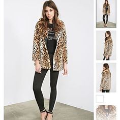 "Forever 21 Faux Leopard Fur Coat Size: small; worn once! It's a boxy fit so it looks a bit big on petite frame bodies. Shell: 82% acrylic, 18% polyester; Lining: 100% polyester 29"" full length, 40"" chest, 40"" waist, 23"" sleeve length Forever 21 Jackets & Coats"