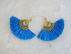 Handcrafted Blue Silk Tassel Earrings by SiamHillTribes on Etsy
