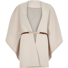 River Island Beige belted cape (44 CAD) ❤ liked on Polyvore featuring outerwear, coats, jackets, cape, tops, brown, sale, brown cape, pink cape and belted cape coat