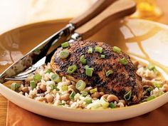 cooking light: Spiced Chicken with Black-Eyed Peas and Rice Rice Recipes, Chicken Recipes, Cooking Recipes, Turkey Recipes, Fall Recipes, Old Bay Seasoning, Chicken Seasoning, Black Eyed Peas, Rice And Peas