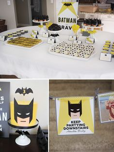 Modern Batman Birthday Party {with DIY Gotham City!} IDEA: To prevent young guests from going upstairs Batman Birthday, Barbie Birthday, Superhero Birthday Party, 10th Birthday, Superhero Baby Shower, Yellow Desserts, Batman Pinata, Lego Batman Cakes, Batman Party