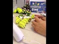 Heather Gilstrap I pinned this for you See How Softball Roses Are Made - by Sports Roses Senior Softball, Softball Party, Softball Crafts, Softball Bows, Softball Coach, Fastpitch Softball, Softball Stuff, Softball Wreath, Softball Wedding