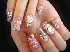 nail art designs acrylic nail art flowers nail art ideas nail designs 2017 nail designs for short nails nail designs gallery to do nail art step by step of acrylic nail art nail art designs Fancy Nails, Cute Nails, Pretty Nails, Ongles Bling Bling, Bling Nails, Rhinestone Nails, Glitter Nails, 3d Acrylic Nails, 3d Nail Art