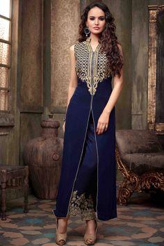 Buy Blue Georgette Designer Salwar Kameez with Dupatta at Best Price on Variation. Huge range of Designer suits, Punjabi suits, Anarkali suits and Women Salwar Kameez Online. Indian Salwar Suit, Indian Suits, Indian Attire, Indian Anarkali, Indian Wear, Anarkali Dress, Pakistani Dresses, Indian Dresses, Blue Dresses