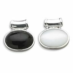Sterling Silver Reversible Oval Black Onyx White Glass Cats Eye Slide Height Is 26mm Charm JewelryWeb. $59.00. Save 50% Off!