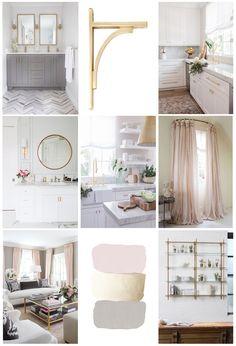 dream home, dream kitchen, pink, gold and grey color scheme. Herringbone pattern, open shelving, dream room