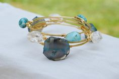 Wire Wrapped Teal Blue Agate, Turquoise, and Crystal Bangle Bauble Bracelet Set