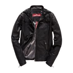Superdry Real Hero Biker Leather Jacket (17.785 RUB) ❤ liked on Polyvore featuring men's fashion, men's clothing, men's outerwear, men's jackets, men, jackets, outerwear, menswear, black and mens collarless leather jacket