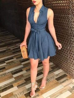 FREE SHPPING Women Sleeveless Denim deep V neck dress women summer mini Blue Dress Belted Party Short Mini Dress summer clothes Women's Dresses, Cute Dresses, Dress Outfits, Casual Dresses, Fashion Dresses, T Shirt Dresses, Special Dresses, Dress Shirts For Women, Mini Dresses