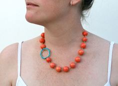 Beach Necklace Pink Coral and Turquoise Gold by WrennJewelry, $38.00