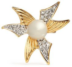 Kenneth Jay Lane Abstract flower faux pearl crystal pavé ring on shopstyle.com