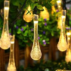 Solar Outdoor String Lights ICICLE Ft 8 Light Modes 20 Water Drop Warm White LEDs Led Fairy Lighting for Garden Decorations Fence Patio Christmas Wedding Party Home and Holiday String Lights Outdoor, Solar Lights, Solar Battery, Solar Bulb, Light String, Solar Garden Lights, String Lighting, Drop Lights, Gardens