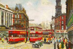 Pete Lapish - Duncan Street - Leeds - West Yorkshire - England - 1956 Leeds England, Yorkshire England, West Yorkshire, Bus Art, Nostalgic Art, Vintage Travel Posters, Christmas Art, Public Transport, Old Houses