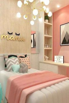 teen girl bedroom decor, gray white and pink bedroom decor, tween girl room design, girl room ideas desk area in kid room Teen Bedroom Colors, Small Room Bedroom, Trendy Bedroom, Bedroom Themes, Dream Bedroom, Diy Bedroom, Warm Bedroom, Room Color Ideas Bedroom, Decor Room