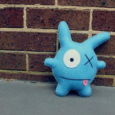 George, a one-eyed bunny handmade from felt. Toys Toys Toys. www.babua.com.au
