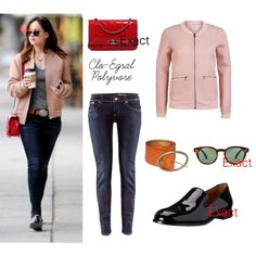 Dakota Johnson by clo-egral on Polyvore featuring mode, ONLY, H&M, Marc by Marc Jacobs, Chanel, Timberland and Oliver Peoples
