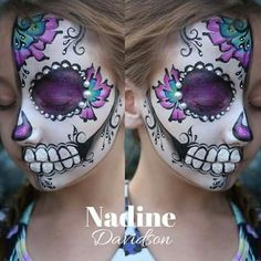 Discover recipes, home ideas, style inspiration and other ideas to try. Candy Skull Face Paint, Candy Skull Makeup, Sugar Skull Face, Candy Skulls, Sugar Skulls, Face Painting Halloween Kids, Adult Face Painting, Halloween Make Up, Body Painting