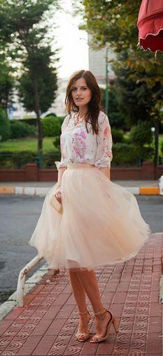Orange tulle skirt
