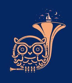 Owl logo - Sunset melody by Enkel Dika Tattoo Musik, Horn Instruments, Band Nerd, Music Illustration, French Horn, Music Humor, Design Graphique, Music Love, Music Stuff