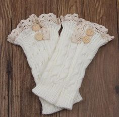 New Arrival Faux Cashmere Leg Warmers Lace Cuff Style Comfortable Soft Legwarmers