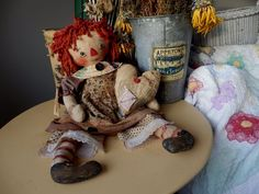 Primitive Annie Doll RaGGeDy ANN VinTaGe and RePRo FaBRiCS AnTiQuE BuTToNs HeaRT