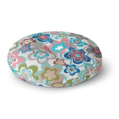 "Jolene Heckman ""A Marsala Morning"" Multicolor Floral Round Floor Pillow"