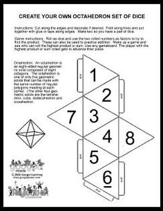 Here's a template for creating a set of octahedron dice. Dice Template, Templates Printable Free, Printables, 8 Sided Dice, Diy Montessori Toys, How To Fold Notes, Primary Maths, Paper Crafts Origami, Math Activities