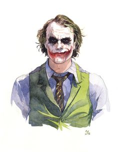 A commissioned watercolor portrait of Heath Ledger as the Joker.