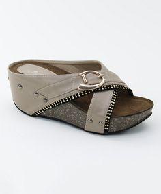 b800e824f3246c Nude Buckle Wedge Sandal by Italina  zulilyfinds Flat Sandals