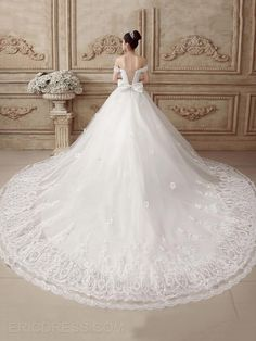 Ericdress Elegant Off the Shoulder Appliques Chapel Train Wedding Dress 2