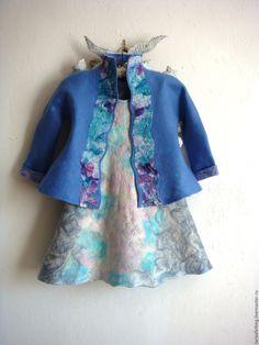 Купить Детское валяное платье . - голубой, детское платье, валяное платье детское, валяная одежда