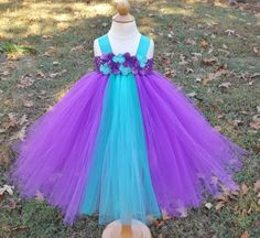 Pulorple aqua and teal tutu dress purple and by DesignedByDaph