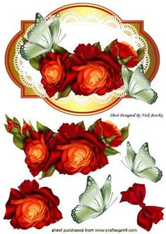 Red and gold roses on lace with green butterfly on Craftsuprint - Add To Basket!