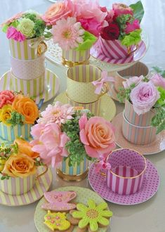 Flowers in Tea Cups