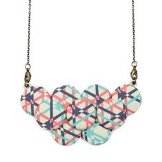 LOVE THIS! Geometric Statement Necklace  Mint Coral Navy by vividotstore, $40.00