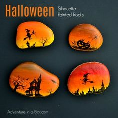 Magical Halloween Silhouette Painted Rocks Decorate rocks with magical Halloween silhouettes drawn over a vibrant sunset sky! Autumn craft for rock painting enthusiasts. Rock Painting Supplies, Rock Painting Ideas Easy, Rock Painting Designs, Painting For Kids, Paint Designs, Pebble Painting, Pebble Art, Stone Painting, Body Painting